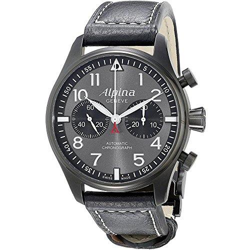 Alpina Herren-Armbanduhr 44mm Armband Leder Schwarz Automatik AL-860GB4FBS6