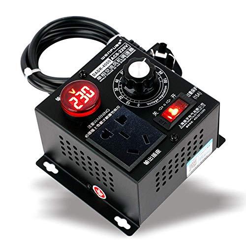 ZHITING-Dimmer, AC 220V 9A 4000W Regolatore di Tensione SCR Dimmer Regolatore Velocità Ventilatore Motore (EU Plug)