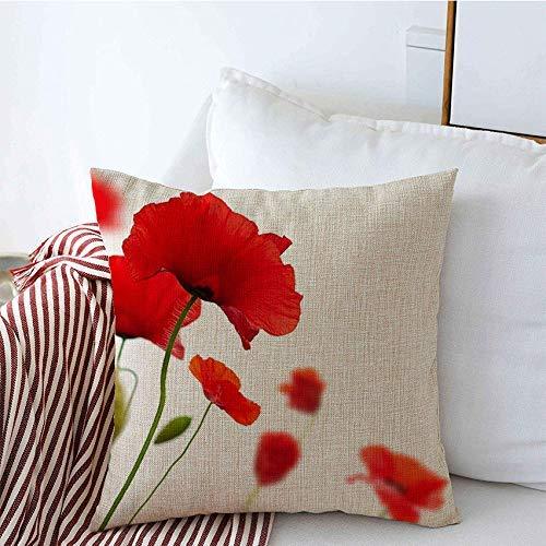 Copridivani Cuscini Divano Fodere Cuscini Progettazione naturale molti papaveri rossi selvatici verdi di estate isolati sulle strutture bianche del fiore di campo della natura 45X45CM