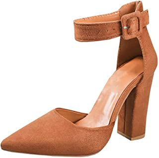 18bf2cc4c2e Womens Heeled Ankle Buckle Block Pointed Toe Cut out Pumps Sandals
