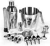 HAITRAL Cocktail Shaker Bar Set 16-teilig, Profi-Barwerkzeugset aus Edelstahl für Bar und Haushalt - 25-Unzen-Martini-Shaker, großer Eiskübel, Muddler, Rührlöffel, Sieb, Eiszange, Jigger und mehr