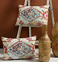 Lacefrill Creation Set of 2 Ecofriendly Jute Blue Striped Cushion Covers (Design 4)