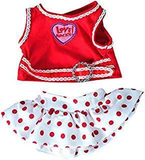 """Love Rocks Top with Polka Dot Skirt Fits Most 8""""-10"""" Webkinz, Shining Star and 8""""-10"""" Make Your Own Stuffed Animals"""