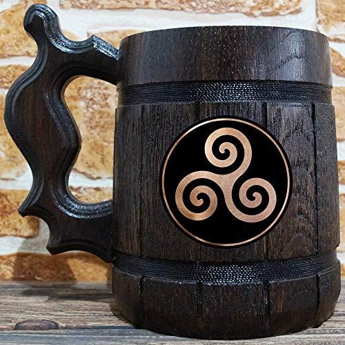 Triskele Celtic Symbol Of The Druids Beer Mug, Personalized Mug, Engraved Beer Stein, Gift For Husband, Beer Tankard, Custom Gift for Him