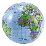 Surepromise Globos terráqueo Hinchable 40cm Bola Mundo Hinchable para Escolar Juguetes niños Aprender geografía (10 uds)