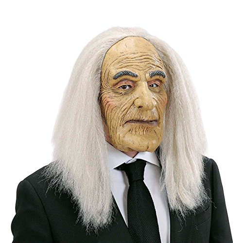 NET TOYS Opa Maske mit Haaren Alter Mann Faschingsmaske mit Perücke Diener Latexmaske Greis Gummimaske Professor Karnevalsmaske Buttler Kostüm Accessoire