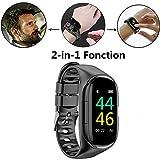 2 en 1 Montre Smart Watch avec Bluetooth,M1 AI Écouteur Montre Intelligente,Etanche...