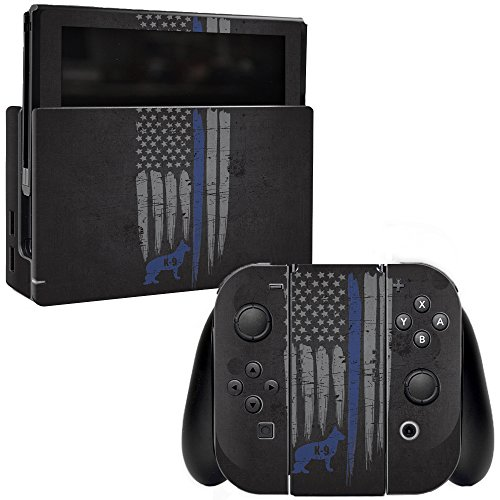 MightySkins Skin Compatible with Nintendo Switch - Thin Blue Line K9 | Protective, Durable, and Unique Vinyl Decal wrap Cover | Easy to Apply, Remove, and Change Styles | Made in The USA