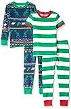 Spotted Zebra Boys' Kids Snug-Fit Cotton Pajamas Sleepwear Sets, 4-Piece Dinosaur Fairisle, Large