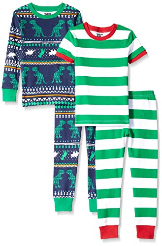 Amazon Brand - Spotted Zebra Toddler 4-Piece Snug-Fit Cotton Pajama Set, Dinosaur Fairisle, 2T