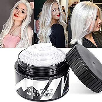Temporary Hair Wax Color White - Instant Hair Dye Wax Natural Hair Pomades Hairstyle Cream for Men Women Party Festival Cosplay & Halloween Christmas 120ml