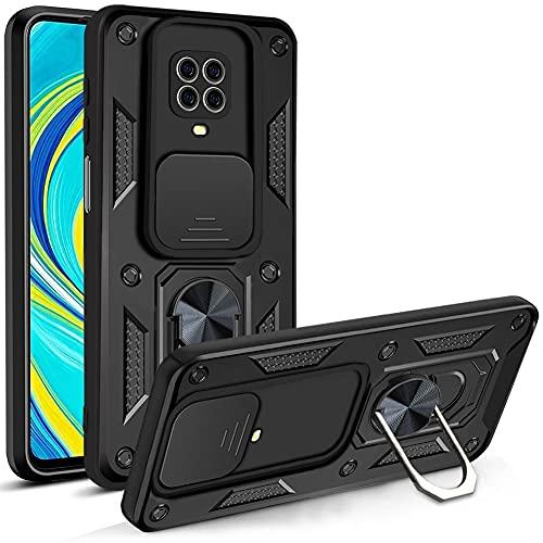 LOCLOUD Funda para Xiaomi Redmi Note 9S/9 Pro, Protección de la Cámara Carcasa con Cubierta de Cámara Deslizante y Soporte de Anill PC Dura y TPU Silicone Anti-Choque Anti-arañazos Case – Negro
