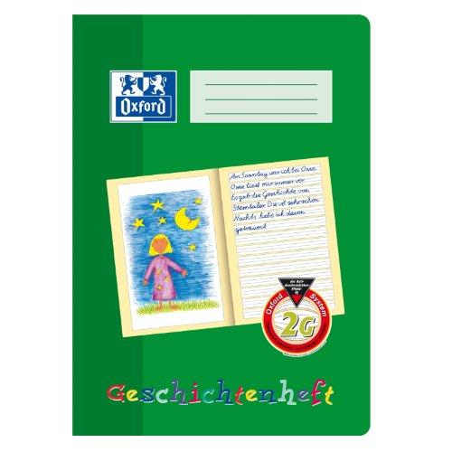 OXFORD 100050092 Geschichtenheft Schule 10er Pack A4 16 Blatt Lineatur 2G (2. Klasse) Lernsysteme grün