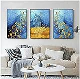 QWEWQE Cuadro de pared abstracto de animales, imagen en lienzo, mariposa dorada, póster de pez, moderno azul y dorado, impresiones pop art para salón (sin marco, E, 40 x 50 cm)