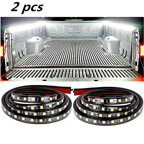 L.K.Y Truck Bed Lights Strip 2PCS 60'' Cargo Bed Strip Lamp White Led Truck Bed Lighting with Waterproof ON/Off Switch Fuse 2-Way Splitter Cable for Cargo, Pickup Truck, Boat