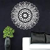 BailongXiao Año Nuevo año decoración del hogar Indio Redondo Mandala Etiqueta de la Pared Vinilo extraíble Impermeable Mural Sala de Estar Dormitorio 57x57 cm