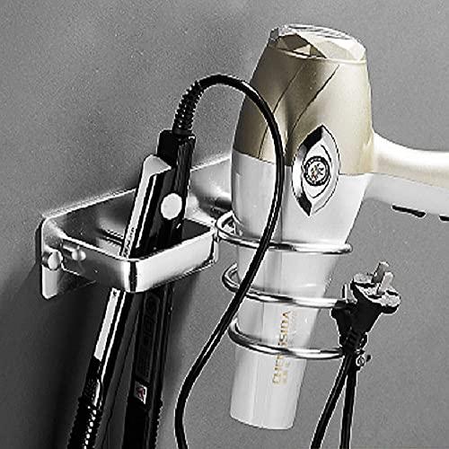 Soporte para secador de Pelo,Soporte para Colgar secador y Plancha de Pelo de Aluminio Soporte para secador de Pelo montado en la Pared Estante de Almacenamiento para Baño, Dormitorio, Hotel