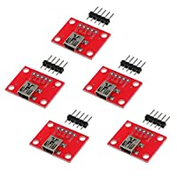 Uブレークアウトボード ブレークアウトボード 5ピン USB Micro-B メス Mini-B 充電コンバータ 5個セット