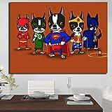 Geiqianjiumai Boston Terrier Wall Art Cartel de Lienzo y Grabado Gráfico Sala de Estar Sofá Imagen Decoración del hogar Pintura sin Marco 70x100cm