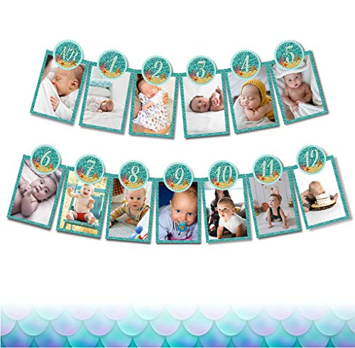 Soccerene 1st Birthday Baby Photo Banner for Newborn to 12 Months, Mermaid Monthly Milestone Photograph Bunting Garland, First Birthday Celebration Decoration