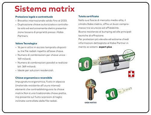 CILINDRO EUROPEO SICUREZZA KABA MATRIX FRIZIONATO 5 CHIAVI VARIE MISURE!!! (Misura a.30/b.50 chiave/chiave 5 ch.)