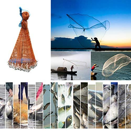 Angeln Net Wurfnetz, Outdoor Erweiterbar Nylon Monofilament Tragbares Falt Fangnetz Fisch Garnelen-Käfig Falle Netz Angel Sack Angel Käfig mit Einem und Freigabe Teleskopisches Fischernetz (3.6M)