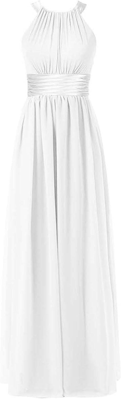 DianSheng Halter Bridesmaid Maxi Dress Long for Women Formal Evening Party Prom Gown