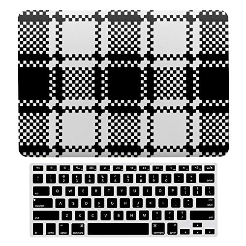 MacBook Air 13 Inch (US Version: A1466、A1369) Laptop Case, Plastic Hard Shell Case w/Keyboard Cover, Black Solid Color Plaid Stripe Black White