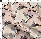 Spatzen, Vögel, Flug, Pfirsich, Spatz Stoffe - Individuell