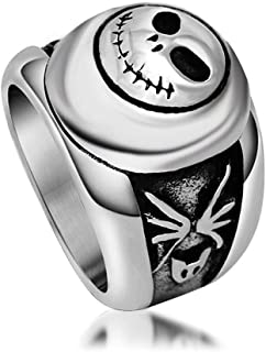 Sping Jewelry Jack Nightmare Before Christmas Retro Ring Titanium Steel Punk Band for Unisex