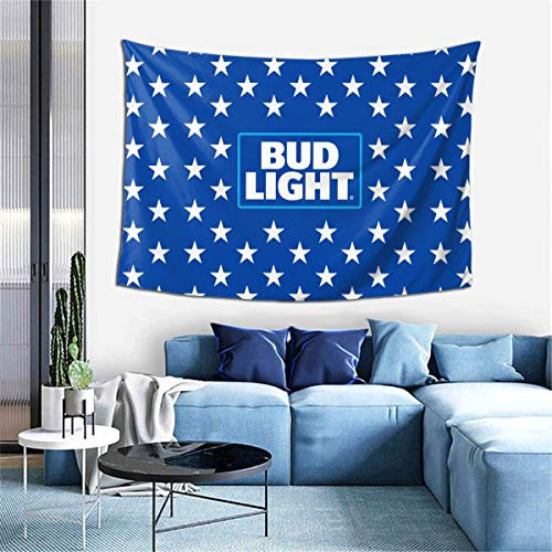 Bud Light Beer Wall Hanging,Beer Logo Tapestry with Art Nature Home Decorations Flags Dorm Decor for Living Room Bedroom (40x60 Inches)