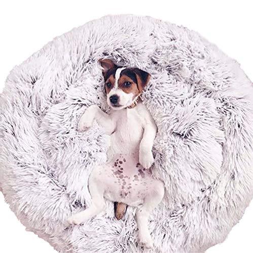 Zhyaj Rundes Nest Beruhigendes Haustierbett, Warmes Weiches Plüsch-Bequemes Haustier Bett Für Große, Mittlere Und Kleine Hunde,Grau,S