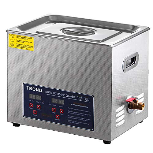 SHZOND Ultrasonic Cleaner 2.64Gal / 10L Stainless Steel Heated Ultrasonic Cleaner 240W Ultrasonic Power Ultrasonic Jewelry Cleaner with Digital Temperature and Timer (2.64Gal / 10L)