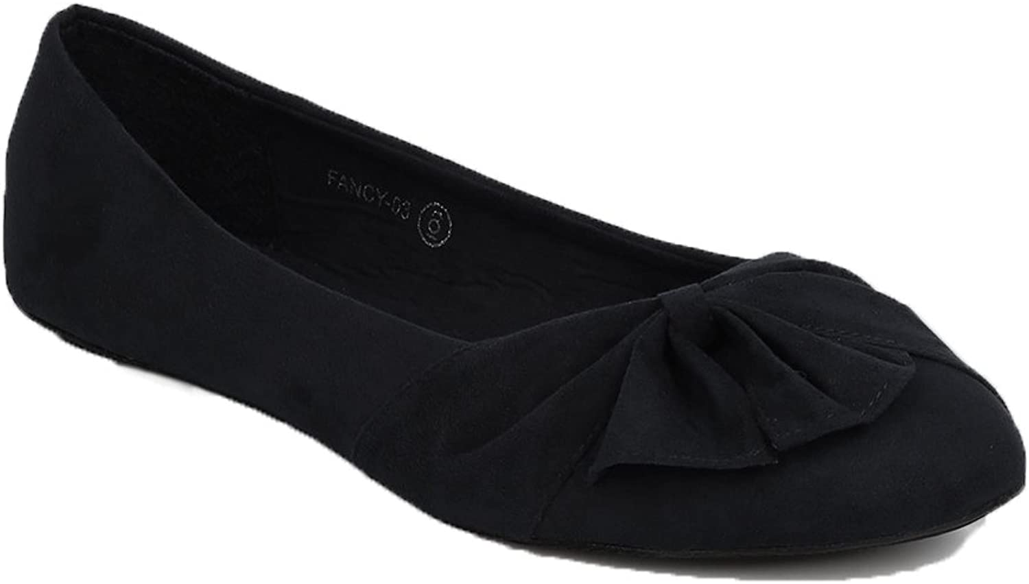 WestCoast Women's Knotted Front Round Toe Faux Suede Ballet Flat shoes