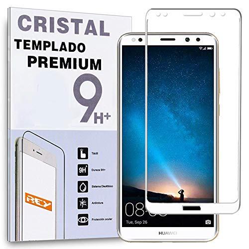 REY Protector de Pantalla Curvo para Huawei Mate 10 Lite, Blanco, Cristal Vidrio Templado Premium, 3D / 4D / 5D