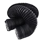 Hon&Guan 4 inch Air Duct - 16 FT Long, Black Flexible Ducting HVAC Ventilation Air Hose for Grow Tents, Dryer Rooms,Kitchen