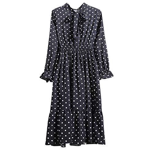 Lowprofile Chiffon Dress with Bow Tie Women Loose Bell Sleeve Lightwight Vintage Boho Midi Dress Black