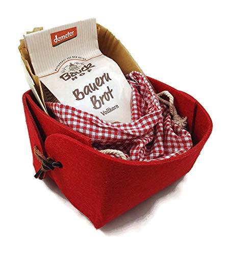 Charming Boxes Geschenkkorb Brot backen - Einweihung, Einzug, Richtfest - Bio-Backmischung (Rot OHNE SALZ)