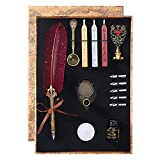 CunMei Quill Pen - Feather Calligraphy Pen and Ink Set - with Seal Stamp, Ink, 5 Replacement Nibs, 3 Wax Seal Sticks, Pen Nib Base, White Wax, Spoon (Red)