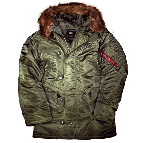 ALPHA INDUSTRIES N3B Polarjacke wetterbeständige Winterjacke, Größe:XL, Farbe:sage Green