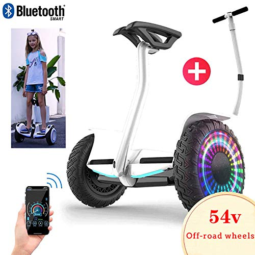 City-Cruiser Hoverboards E-Balance Scooter Elektro Scooter Mit Bluetooth-Musiklautsprecher, Smart Buntes Blitzrad, Für Kinder Und Jugendliche+ Sicherheitsarmlehne Mit Einstellbarer Länge,Weiß