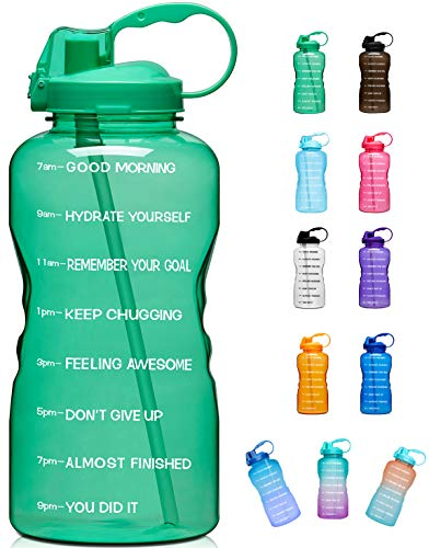 Giotto Large 1 Gallon/128oz (When Full) Motivational Water Bottle with Time Marker & Straw, Leakproof Tritan BPA Free, Ensure You Drink Enough Water Daily for Fitness, Gym and Outdoor Sports-Green