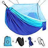 Camping Hammock with Net Mosquito, Parachute Fabric Camping Hammock Portable Nylon Hammock...