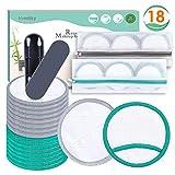 Homtiky Discos Desmaquillantes Reutilizables con 2 Bastoncillos Ecologicos, 18 Toallitas Desmaquillantes con 2 Bolsas de Lavandería, Aptos Para Todo Tipo de Pieles y Bebés