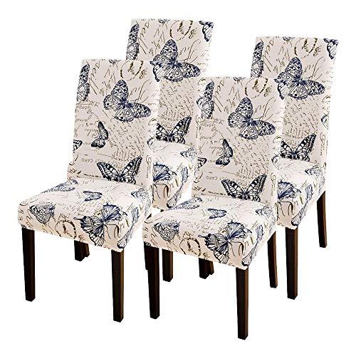 CareMont 4-Teilige Stuhl BezüGe, Passform Strecken Abnehmbare Waschbare KüChen Stuhl BezüGe Schutz für das Esszimmer, Hotel, Schmetterling Muster