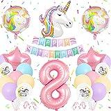 8 Ans Decoration Anniversaire Licorne Fille, Pastel Ballon Licorne Anniversaire Fille, Géants Ballons Numéro 8, Énormes Ballons Licorne, Fournitures Fête Licorne 8 Ans pour Fête d'Anniversaire Filles