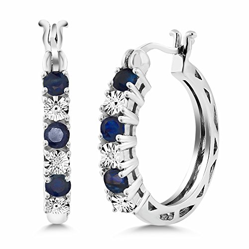 Gem Stone King 925 Sterling Silver Blue Sapphire and White Diamond Accent Women's Hoop Earrings (0.83 Cttw, 22MM = 0.85 Inches Diameter)
