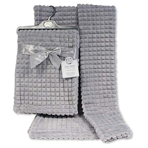 Super Soft Newborn Baby Girl Boy Waffle Nursery Cot Blanket Comforter - Pink, Blue, Grey, White Available (Grey)
