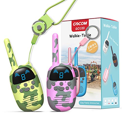 GOCOM Walkie Talkies for Kids, Kids Toys Handheld Child Gift Walky Talky, Two-Way Radio Boys & Girls Toys Age 3-12, for Indoor Outdoor Hiking Adventure Games (MC-GreenPink)