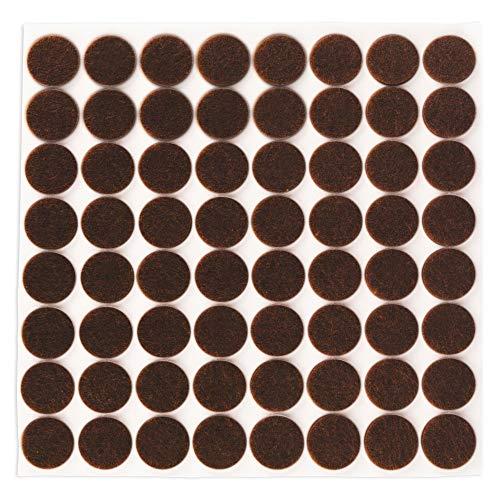 Filzada® 64x Feltrini autoadesivi - Ø 20 mm (rotondo) - Marrone - Feltro professionale per mobili scivola con potere adesivo ideale
